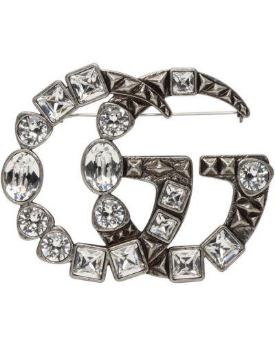 Broszka ze srebra srebrna Gucci