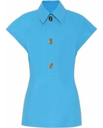 Polo bawełniana - niebieska Bottega Veneta