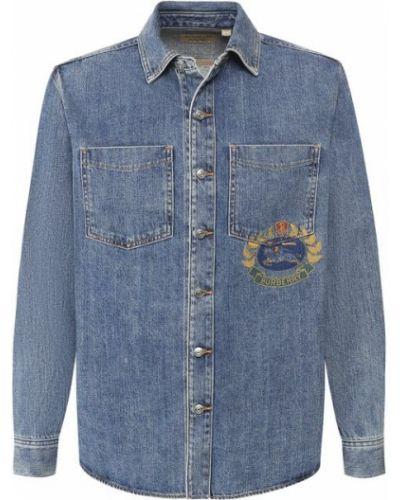 Джинсовая рубашка хлопковая с принтом Burberry