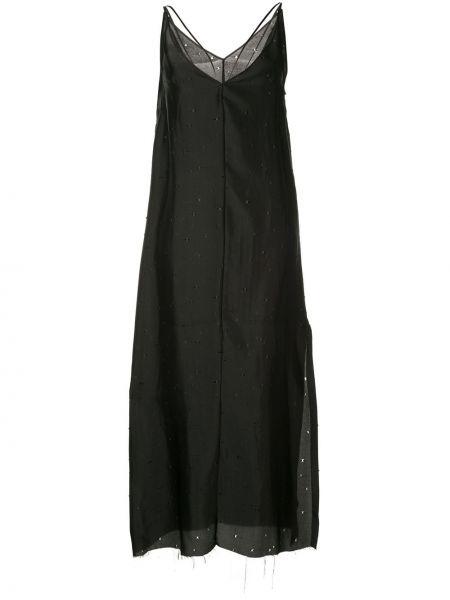 Шелковое платье с декольте на молнии без рукавов Yang Li