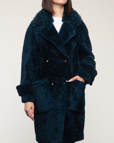 Зеленое пальто с воротником из овчины Aliance Fur