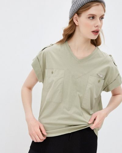 Зеленая футболка с короткими рукавами Aeronautica Militare