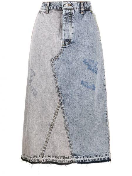 Хлопковая прямая синяя джинсовая юбка винтажная Sjyp