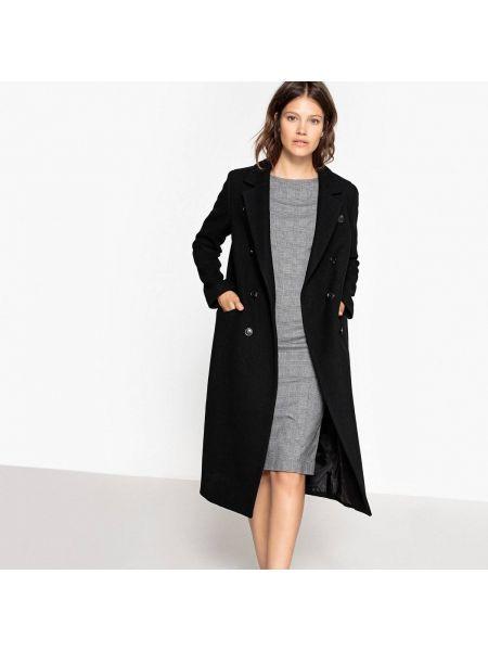 Шерстяное бежевое зимнее пальто с воротником на пуговицах La Redoute Collections