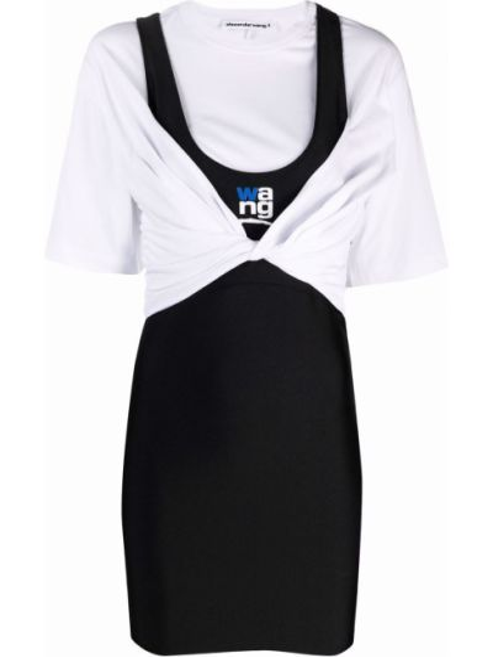 Sukienka mini z printem - biała Alexander Wang