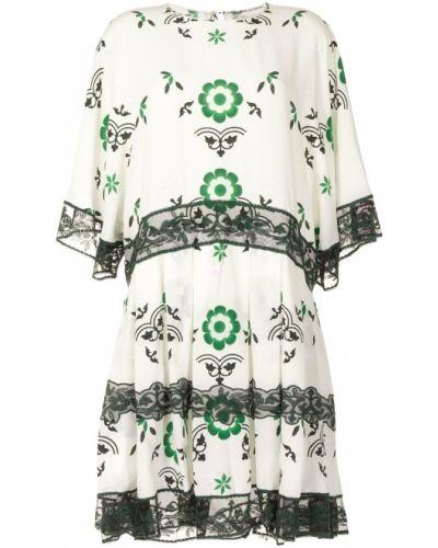 Шелковое кружевное белое платье Ermanno Scervino