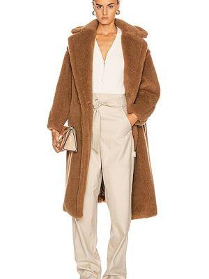 Коричневое пальто из верблюжьей шерсти с карманами Max Mara