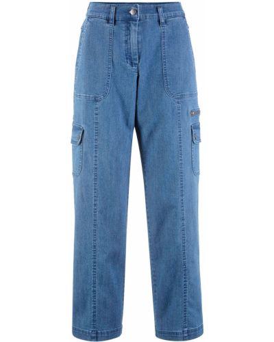 Широкие джинсы синие потертый Bonprix