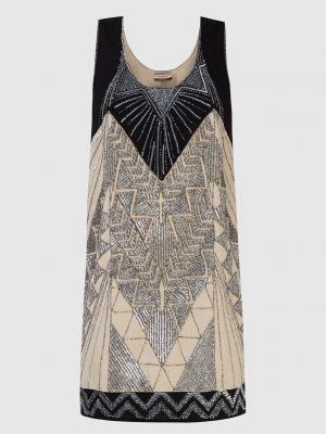 Бежевое платье миди с вышивкой Twin-set