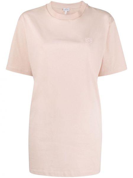 Прямая розовая футболка с вышивкой круглая Loewe