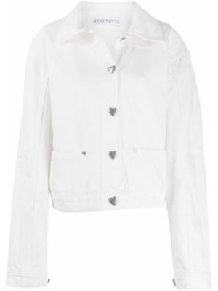 Белая джинсовая куртка оверсайз с воротником Saks Potts