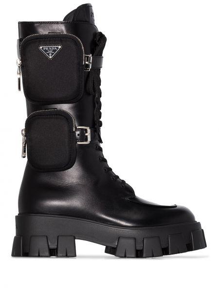 Skórzany czarny buty z kieszeniami okrągły Prada