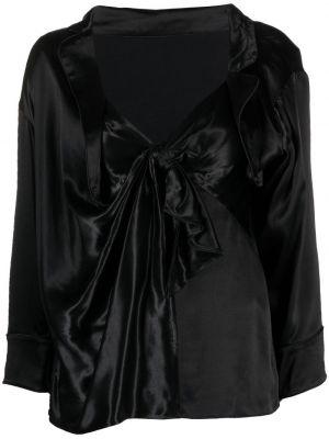 Satynowa czarna koszula z długimi rękawami Alexander Wang