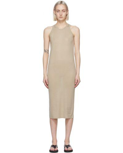 Z kaszmiru beżowa sukienka bez rękawów Frenckenberger