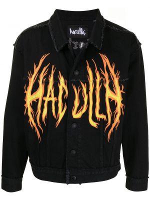 С рукавами черная джинсовая куртка с воротником Haculla