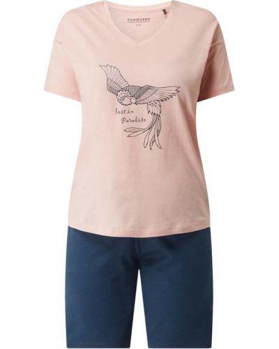 Różowa piżama bawełniana krótki rękaw Schiesser
