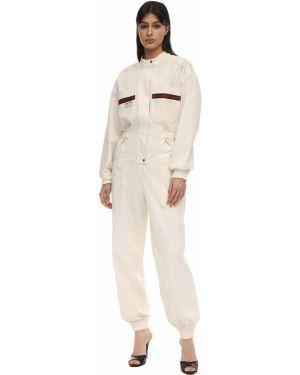 С рукавами белый комбинезон с манжетами с карманами Gucci