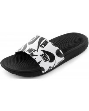Спортивные кожаные черные шлепанцы для бассейна Nike
