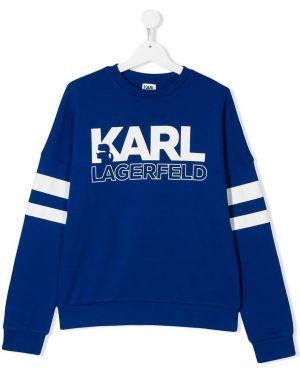 Свитшот с логотипом синий Karl Lagerfeld Kids