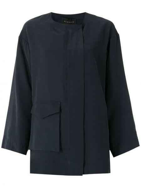 Синяя длинная куртка с карманами из вискозы Alcaçuz