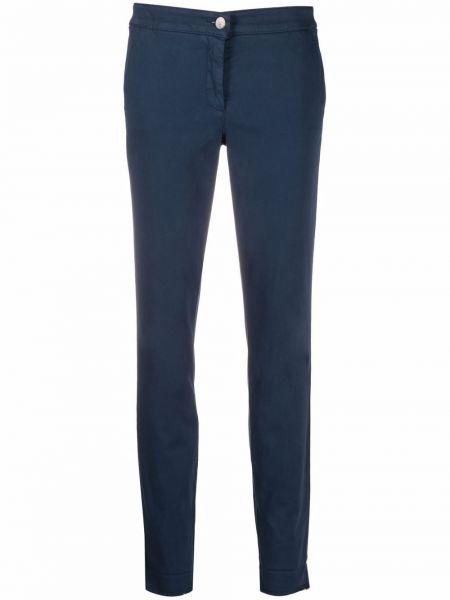 Хлопковые синие брюки дудочки с накладными карманами Luisa Cerano