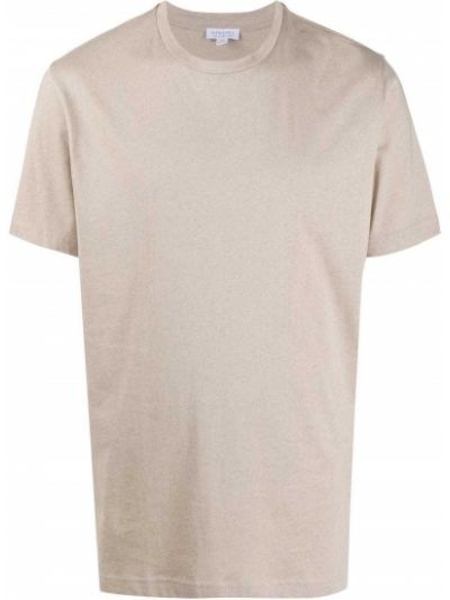 С рукавами прямая хлопковая футболка с круглым вырезом Sunspel