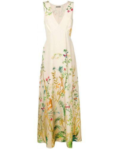 Бежевое платье с цветочным принтом Alberta Ferretti