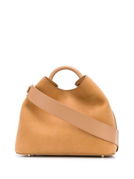 Z paskiem brązowy skórzana torebka z prawdziwej skóry Elleme