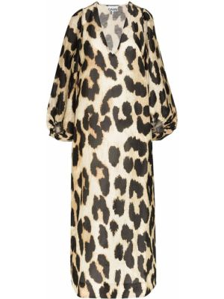 Платье миди с V-образным вырезом леопардовое Ganni