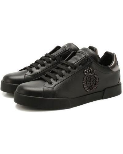 Черные кожаные кеды Dolce & Gabbana