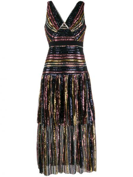 Платье миди с вышивкой с V-образным вырезом Self-portrait