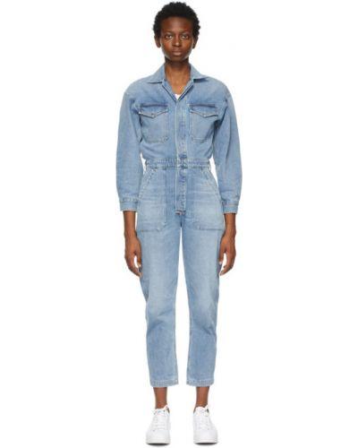 Оранжевый джинсовый комбинезон с карманами с длинными рукавами Citizens Of Humanity