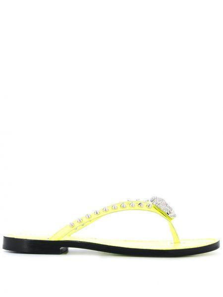 Шлепанцы на каблуке желтый Philipp Plein