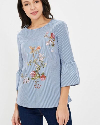 Голубая блузка с рюшами Zarina