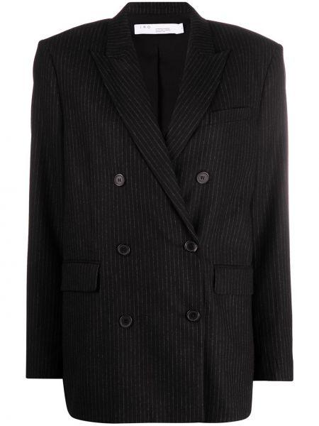 Шерстяной черный пиджак с карманами двубортный Iro