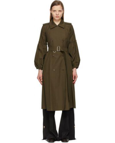 Зеленое длинное пальто двубортное с воротником Max Mara
