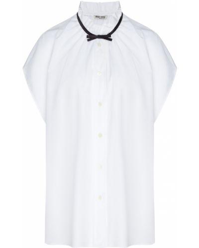 Хлопковая белая блузка без рукавов с воротником оверсайз Miu Miu