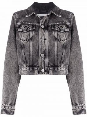 Синяя джинсовая куртка классическая с воротником Alessandra Rich