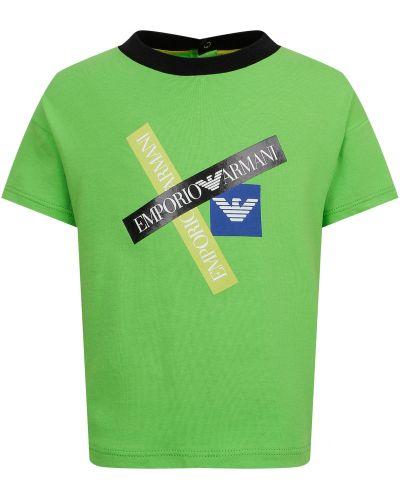 Хлопковая зеленая футболка Armani Junior