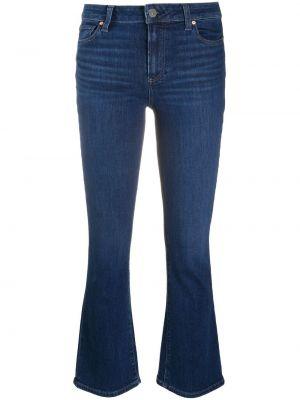 Расклешенные хлопковые синие укороченные брюки Paige