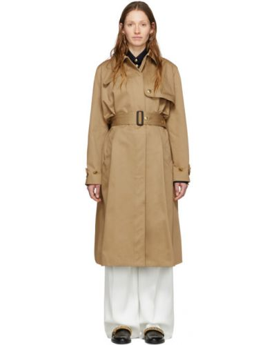 Czarny bawełna długo płaszcz z kieszeniami zapinane na guziki Givenchy