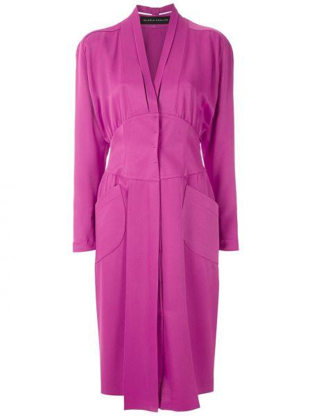 Розовое платье миди с карманами узкого кроя из вискозы Gloria Coelho