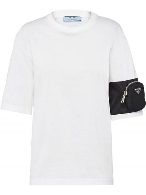Белая прямая футболка с круглым вырезом с карманами Prada