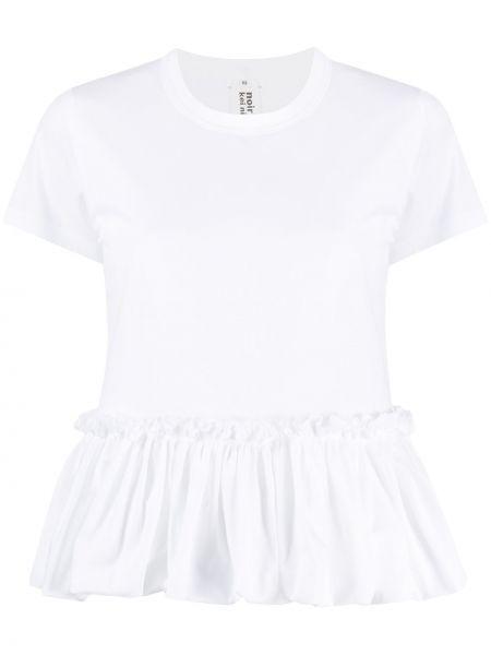 Белая хлопковая футболка с оборками с круглым вырезом Comme Des Garçons Noir Kei Ninomiya
