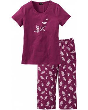 Пижама с брюками с короткими рукавами фиолетовый Bonprix