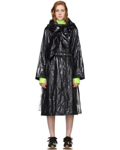 Нейлоновое черное длинное пальто с капюшоном Moncler Genius