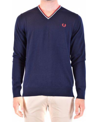 Niebieski sweter z dekoltem w serek Fred Perry