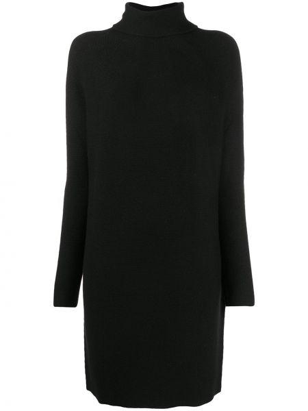 С рукавами шерстяное черное платье трапеция Christian Wijnants