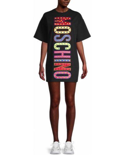 Черное платье мини свободного кроя с вышивкой Moschino