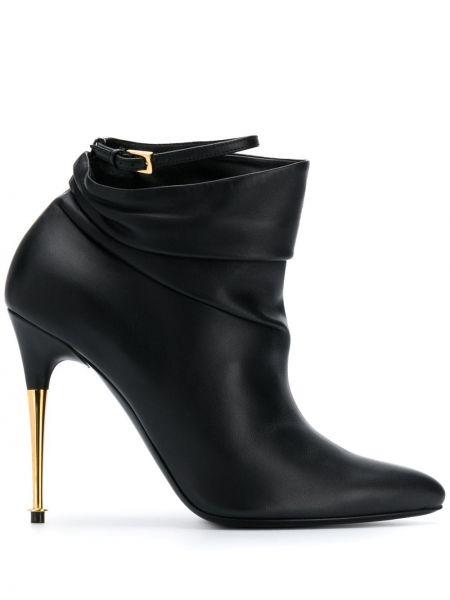 Золотистые черные ботинки на каблуке на каблуке с пряжкой Tom Ford